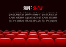 Movie theater with row of red seats. Premiere event template. Super Show design.  Stock Images