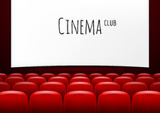 Movie theater with row of red seats. Premiere event template. Super Show design. Stock Photos