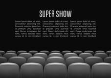 Movie theater with row of red seats. Premiere event template. Super Show design. Presentation concept with place for text.  Royalty Free Stock Images