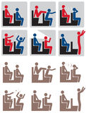 Movie Theater Rules Icon Set. These 6 Illustrated Icons can be used to depict what NOT to do in a movie theater. Great for posters, t-shirts and web icons. The stock illustration