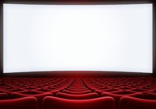 Movie theater screen with red seats 3d illustration. Movie theatre screen with red seats background royalty free stock photos