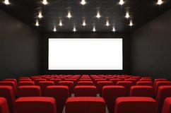 Movie theatre with blank screen. Empty cinema hall with blank screen and red seats, 3D rendering vector illustration
