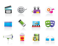 Movie theatre and cinema icons Royalty Free Stock Image