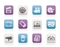 Movie theatre and cinema icons stock illustration