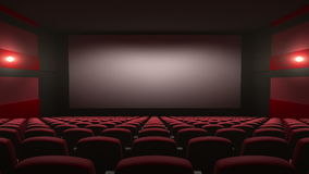 Movie theatre with a green screen stock illustration