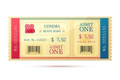 Movie Ticket. Vector illustration of movie ticket against white background Royalty Free Stock Image