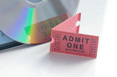 Movie ticket. Ticket and movie DVD royalty free stock photos
