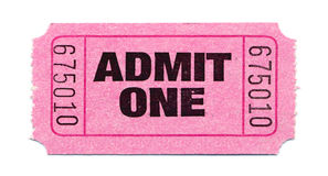 Movie-Ticket. Isolated Pink Admit-One-Ticket Stock Photo