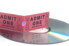 Movie ticket and DVD stock image