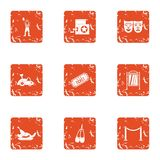 Movie ticket icons set, grunge style. Movie ticket icons set. Grunge set of 9 movie ticket vector icons for web isolated on white background Stock Photography