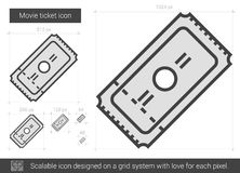 Movie ticket line icon. Movie ticket vector line icon isolated on white background. Movie ticket line icon for infographic, website or app. Scalable icon Royalty Free Stock Photo