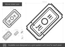 Movie ticket line icon. Movie ticket vector line icon isolated on white background. Movie ticket line icon for infographic, website or app. Scalable icon Stock Photography