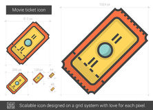 Movie ticket line icon. Movie ticket vector line icon isolated on white background. Movie ticket line icon for infographic, website or app. Scalable icon Stock Images