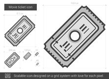 Movie ticket line icon. Movie ticket vector line icon isolated on white background. Movie ticket line icon for infographic, website or app. Scalable icon Stock Image
