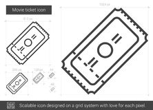 Movie ticket line icon. Movie ticket vector line icon isolated on white background. Movie ticket line icon for infographic, website or app. Scalable icon Royalty Free Stock Image