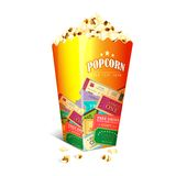 Movie Ticket printed on Popcorn box Royalty Free Stock Images