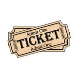 Movie Ticket Prop. Vintage Movie Ticket Prop isolated Stock Images