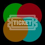 Movie ticket. vector Admit one, admission pass. Movie ticket. vector Admit one illustration, admission pass icon. Thin line pictogram - outline editable stroke stock illustration