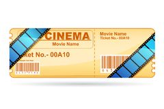 Movie Ticket wrapped with Film Reel Royalty Free Stock Photography