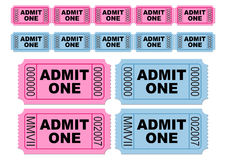 Movie tickets. Blue and pink movie tickets. Cinema tickets. Admit one. You can change numbers and colors easily Royalty Free Stock Photo