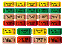 Movie tickets. With different colors. Cinema tickets. Admit one. You can change numbers and colors easily Stock Image
