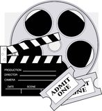 Movie Tickets. Clapboard,movie reel and admission tickets for the movies Stock Photos