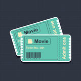 Movie tickets on blue canvas Stock Photography