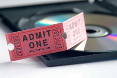 Movie tickets and DVD. Ticket and DVD stock images