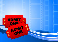 Movie tickets on film background Stock Images