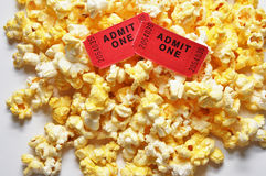 Movie Tickets and Popcorn. Two movie tickets and popcorn Stock Photos