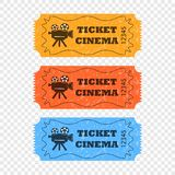 Movie tickets on a transparent background in different colors. Vector elements for your design. vector illustration