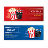 Movie time banner and coupon.Cinema template element design stock illustration