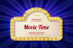 Movie time cinema premiere poster design. Royalty Free Stock Photography