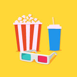 Movie time. 3D Movie showing with Popcorn and drinks Royalty Free Stock Image