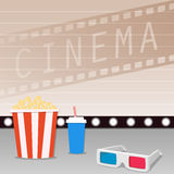 Movie time. 3D Movie showing with Popcorn, film stripe and drinks Stock Photos