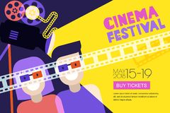 Movie time, date at the cinema concept. Vector cinema festival poster, flyer background. Sale tickets banner background stock illustration