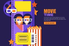 Date at the cinema  illustration. Design for cinema festival poster, sale tickets banner, flyer, coupon. Movie time, date at the cinema  flat illustration Royalty Free Stock Photo