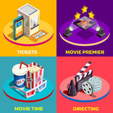 Movie Time Design Concept. Cinema isometric design concept with compositions of movie industry elements light equpiment tickets food and drink vector Royalty Free Stock Images