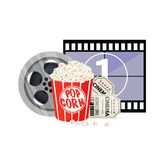 Movie time illustration. Cinema poster concept on red round background. Composition with popcorn, clapperboard, 3d vector illustration