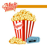 Movie Time!. Popcorn and Movie tickets illustration. EPS 10 file and large jpg included Royalty Free Stock Photos
