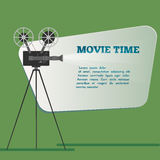 Movie time poster. Cartoon vector illustration. Cinema motion picture.  Royalty Free Stock Images