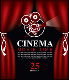 Movie time poster with old fashioned camera Royalty Free Stock Images