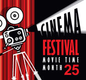 Movie time poster with old fashioned movie camera vector illustration