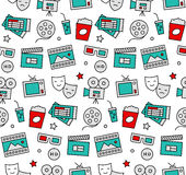 Movie time seamless icons pattern Royalty Free Stock Photos