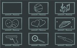 Movie TV genres symbol set. Vector Royalty Free Stock Images