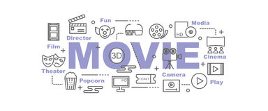Movie vector banner. Design concept, flat style with thin line art icons on white background Stock Image