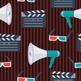 Movie vector icons pattern-01. Seamless pattern. icons for the film industry,magazines and websites about cinema. Movie clapper, 3D glasses,megaphone,loudspeaker stock illustration