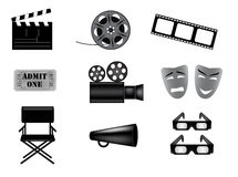 Movie vector icons set. Black and white Royalty Free Stock Photos