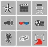 Movie vector icons set. Cinema flat design elements. On grey background vector illustration