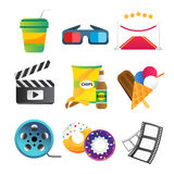 Movie vector icons set. Movie icons , movie food and drinks. Clapboard, tickets film, cakes and drinks vector icons. Ice cream, glasses, chips, beer. Cinema Royalty Free Stock Photos